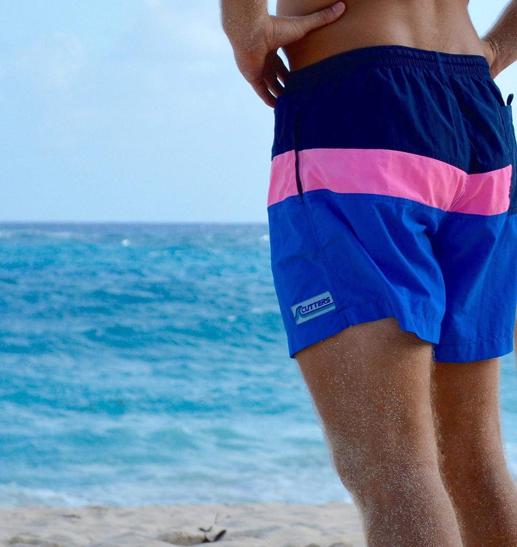 2c520321d4 Cutters Apparel Men's Retro Swim Trunks Surf Board Shorts with Mesh Lining  | Amazon.com