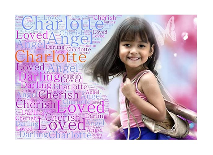 A4 Size Personalised Your Photo With Word Art Print In Any Colour Background You Like And