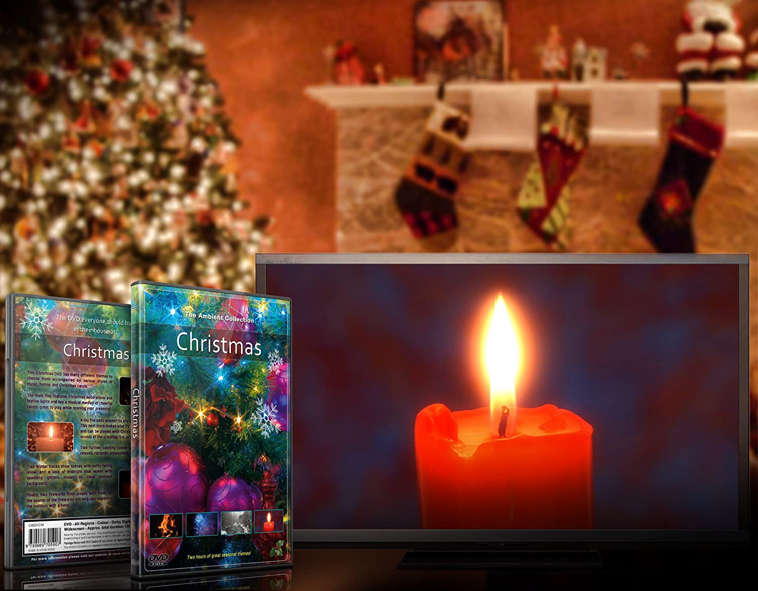 christmas dvd with falling snow christmas lights fireplace and