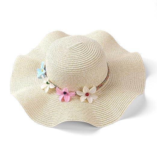 15dd6cfb06b Aerusi Women s Wavy Brim Straw Woven Flower Band Summer Beach Floppy Sun Hat  (Beige)