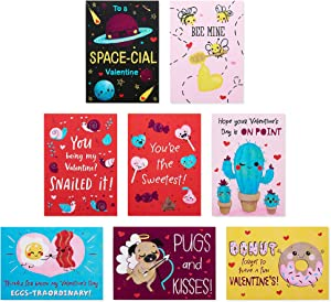 American Greeting Valentine Cards for Kids Classroom, Pun Believable Valentines, 40-Count