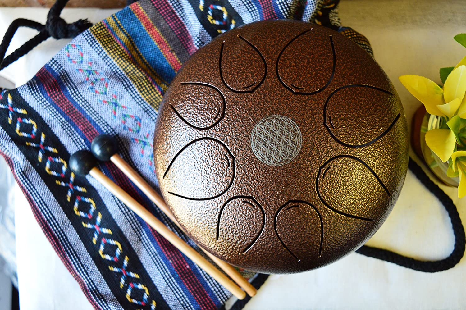 WuYou 8in Steel Tongue Drum Hand Pan Drum Tank Special Notes, FREE Bag & Mallets, Bronze
