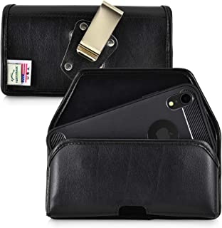 product image for Turtleback Belt Case Designed for iPhone 11 (2019) and iPhone XR (2018) Belt Holster Black Leather Pouch with Heavy Duty Rotating Belt Clip, Horizontal Made in USA