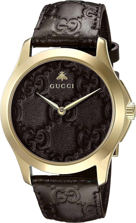 Gucci Reloj Análogo clásico para Unisex de Cuarzo con Correa en Cuero YA1264035