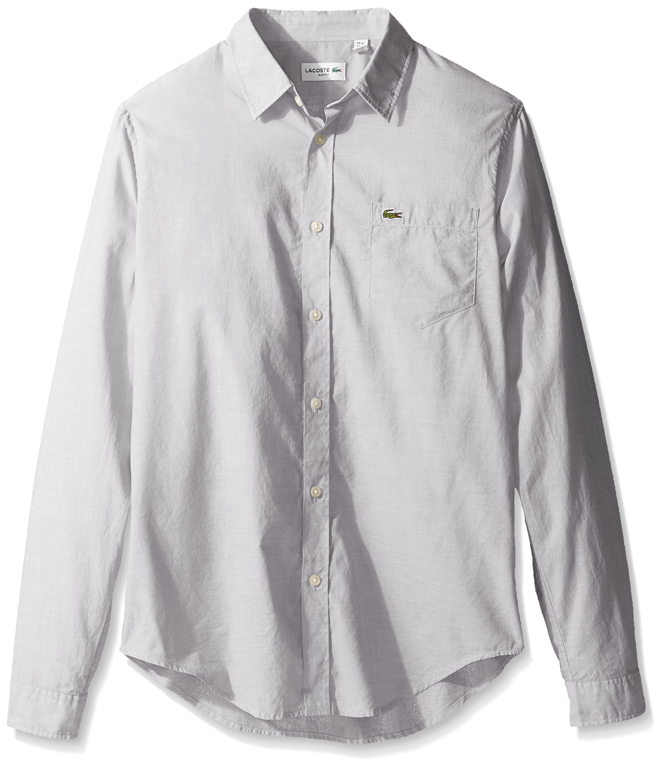 Lacoste Men's Long Sleeve Cotton Voile Slim Fit Woven Shirt, CH3937-51, Shadow/White, 38