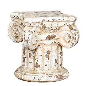 Creative Co-Op Distressed Terracotta Column Pedestal 7 in. H x 6.25 in. W x 6.25 in. D Cream 1 Piece