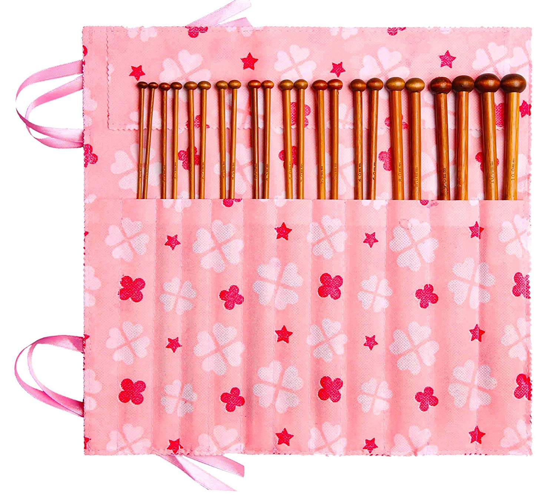 Fairycece Bamboo Knitting Needles Set Knitting Needle Case Knitting Kits for Beginners