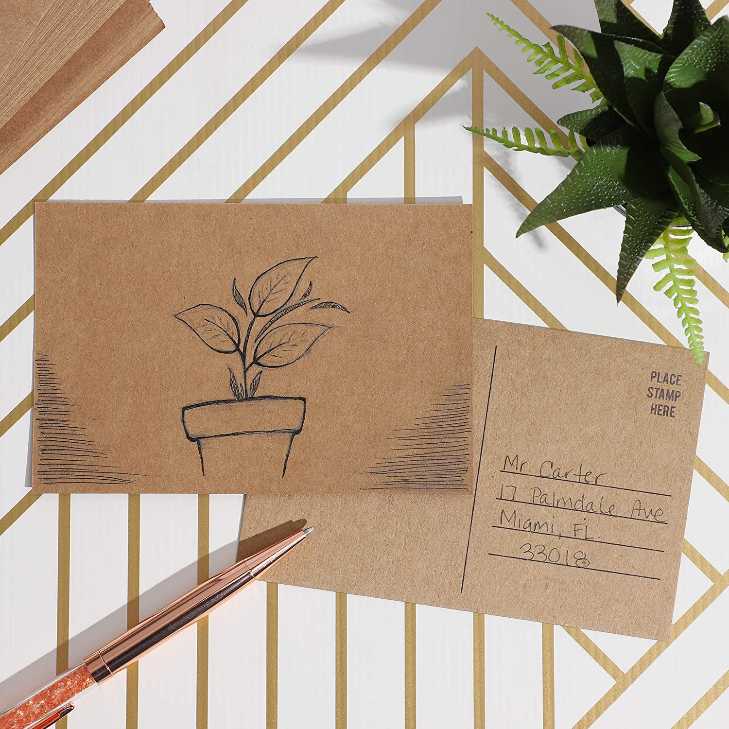 Sustainable Greetings Blank Kraft Mailable Postcards 100 Count