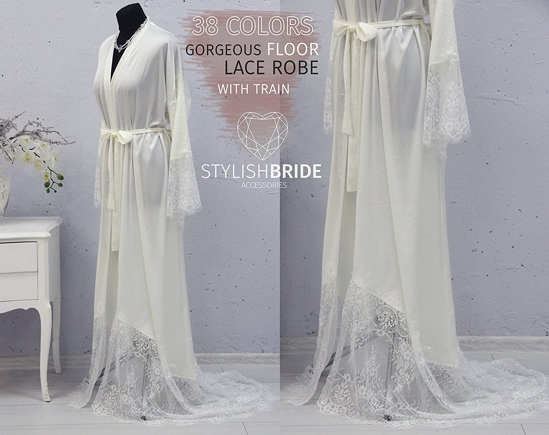 Amazon.com  Floor Bridal Silk Robe with Lace Train 2317ecd28
