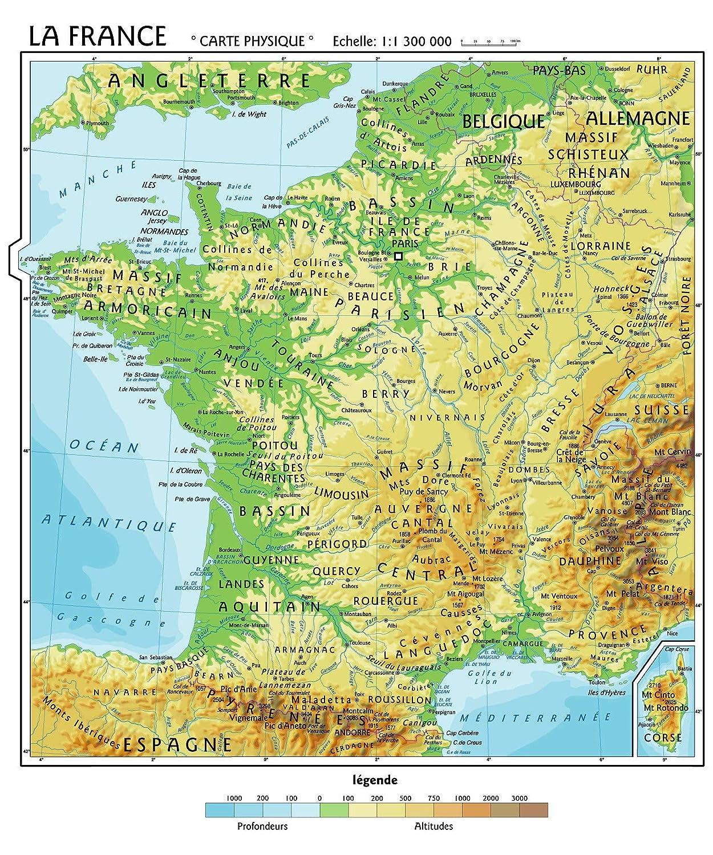 Francia Cartina Geografica.Carta Geografica Murale Francia In Lingua Madre Francese