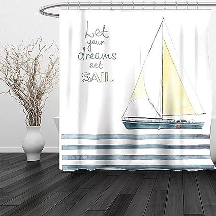 HAIXIA Shower Curtain Sailboat Nautical Let Your Dreams Set Sail Quote Stripes Yacht Interior Navigation Theme