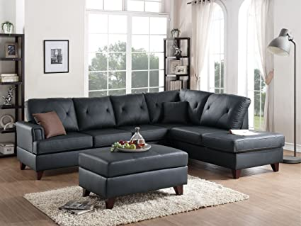3Pcs Black L Shaped Reversible Sectional Sofa Chaise Ottoman Set With Top  Grain Leather