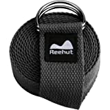 Reehut Yoga Strap (6ft, 8ft, 10ft) - Durable Cotton Exercise Straps w/ Adjustable D-Ring Buckle for Stretching, General Fitness, Flexibility and Physical Therapy