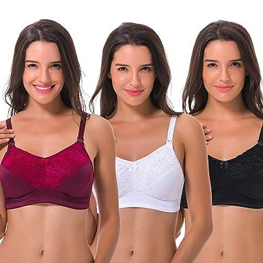 a74a5ec6ffd Women s Plus Size Wirefree Nursing Matermity Lace Full Figure Bra-3Pack -34DDD-Black