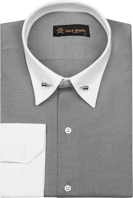 Mens Vintage Shirts – Casual, Dress, T-shirts, Polos Jack Martin - Ash Grey Oxford Pin Collar Shirt - Mens Business Wedding & Dress Shirts with Collar Bar $45.00 AT vintagedancer.com