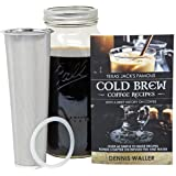 Cold Brew Coffee Maker Kit |Large 2 Quart/Half Gallon|130pg 60+ Recipes and Instruction Book! Quality Ball Wide Mouth Mason Jar & Stainless Filter Basket. Makes Coffee, Infused Water & Tea!