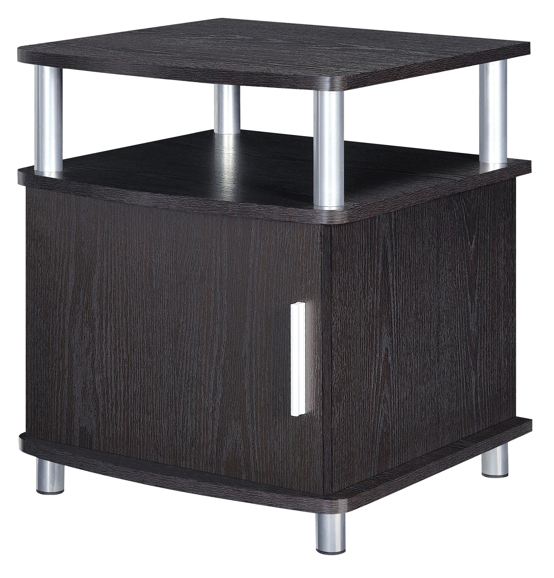 Ameriwood Home Carson End Table with Storage, Espresso