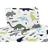 Sweet Jojo Designs 3-Piece Twin Sheet Set for Blue and Green Modern Dinosaur Bedding Collection