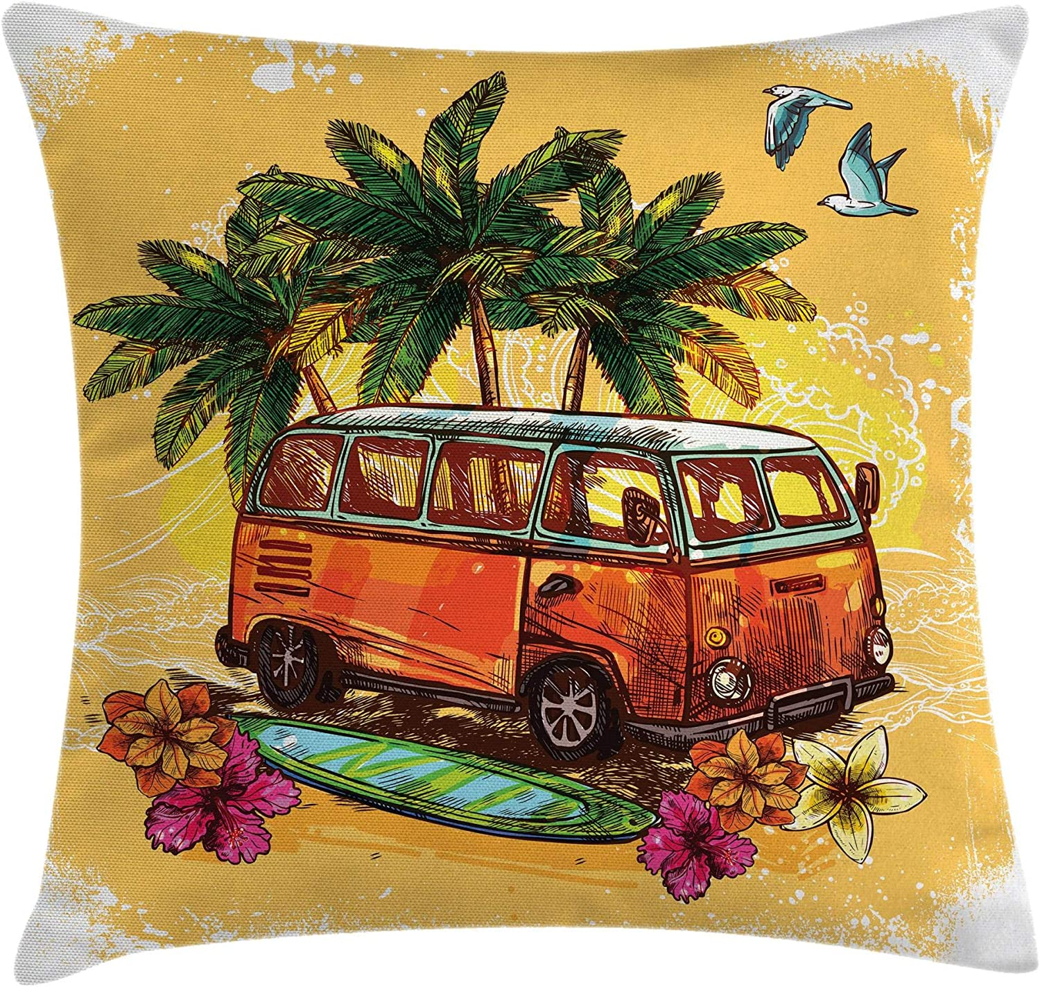 Ambesonne Surf Throw Pillow Cushion Cover, Hippie Classic Old Bus with Surfboard Freedom Holiday Exotic Life Sketchy Art, Decorative Square Accent Pillow Case, 20