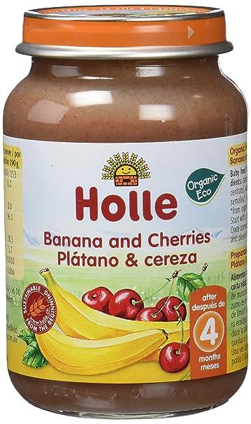Holle Potito de Plátano y Cereza (+4 meses) - Paquete de 6 x 190 ...