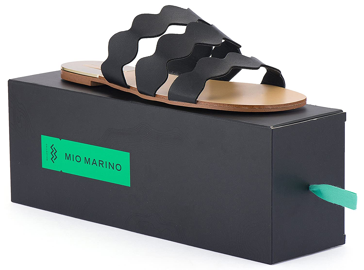 Mio Marino womens slide sandals Frill Scalloped slide for women Enclosed In A Gift Box