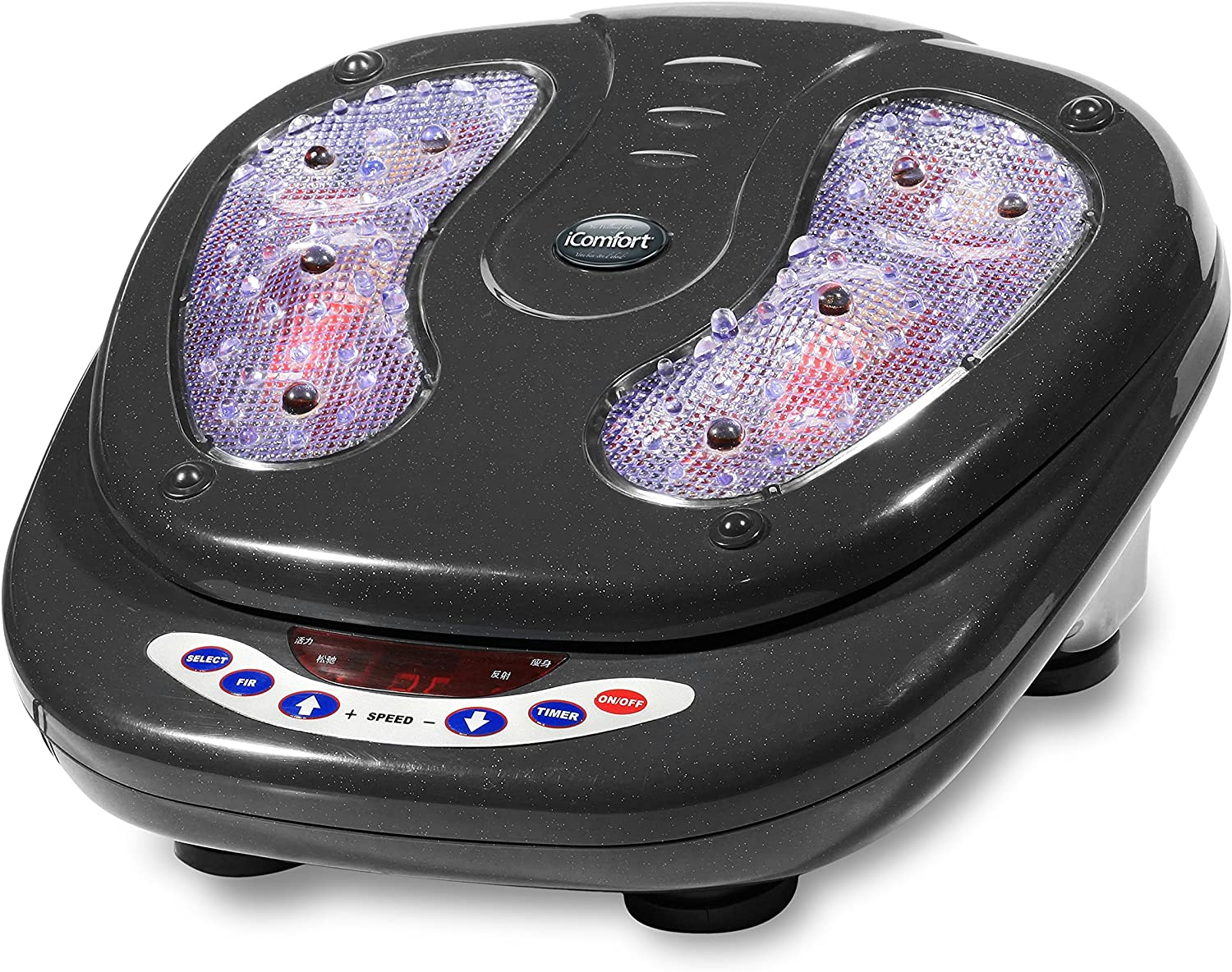 iComfort Vibration Foot Massager with Infrared Heat, Includes Wireless Remote Control, Black
