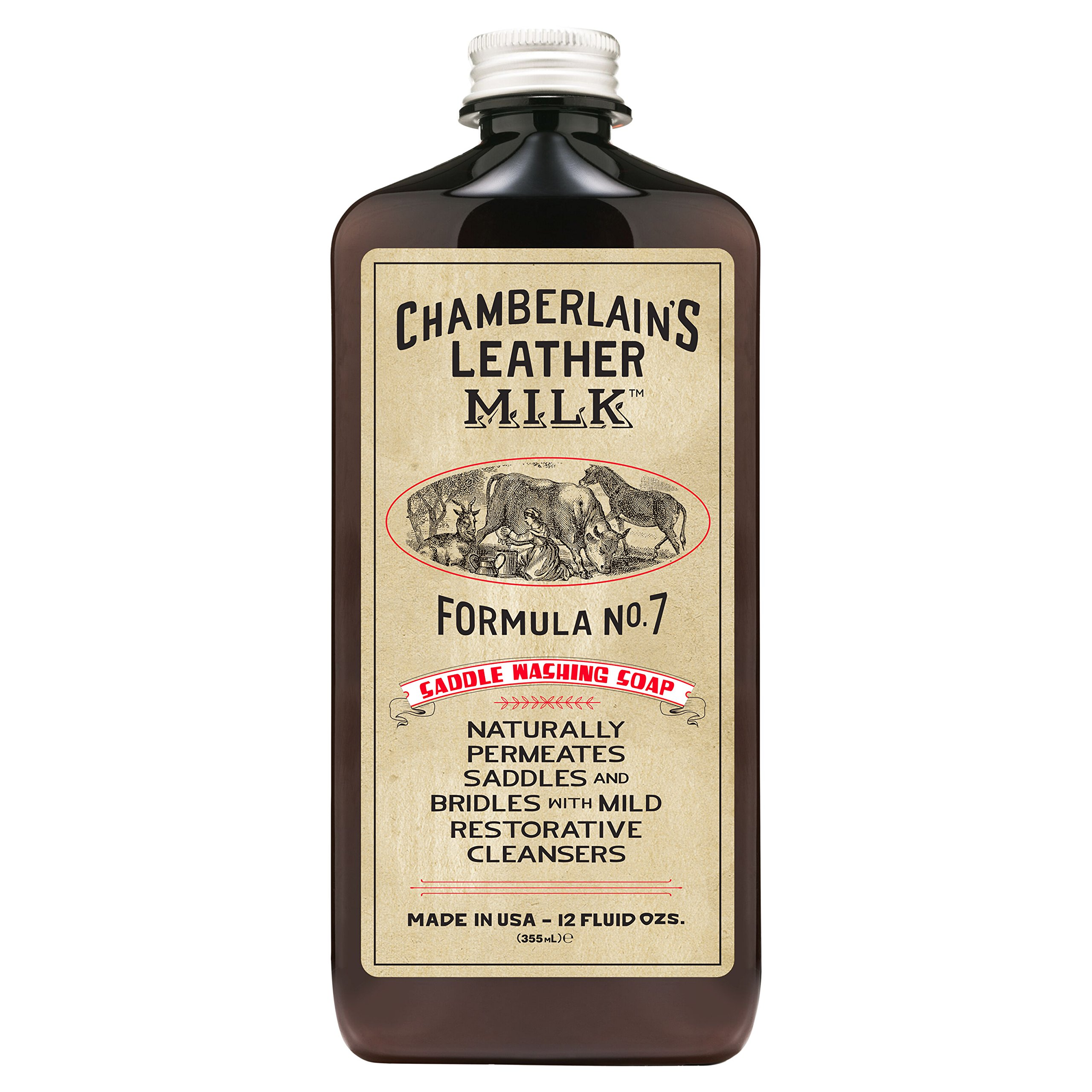 Leather Milk Saddle Washing Soap - No. 7 - All-Natural, Non-Toxic Saddle Soap Deep Cleaner for Western & English Saddles and Tack. Dye and Scent Free. Made in USA. Includes Saddle Scrub Sponge Pad! by Chamberlain's Leather Milk