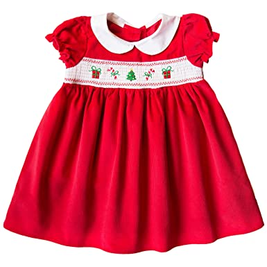 28acca0de0637 Amazon.com: Good Lad 2/6X Red Corduroy Dress with Christmas Smocking ...