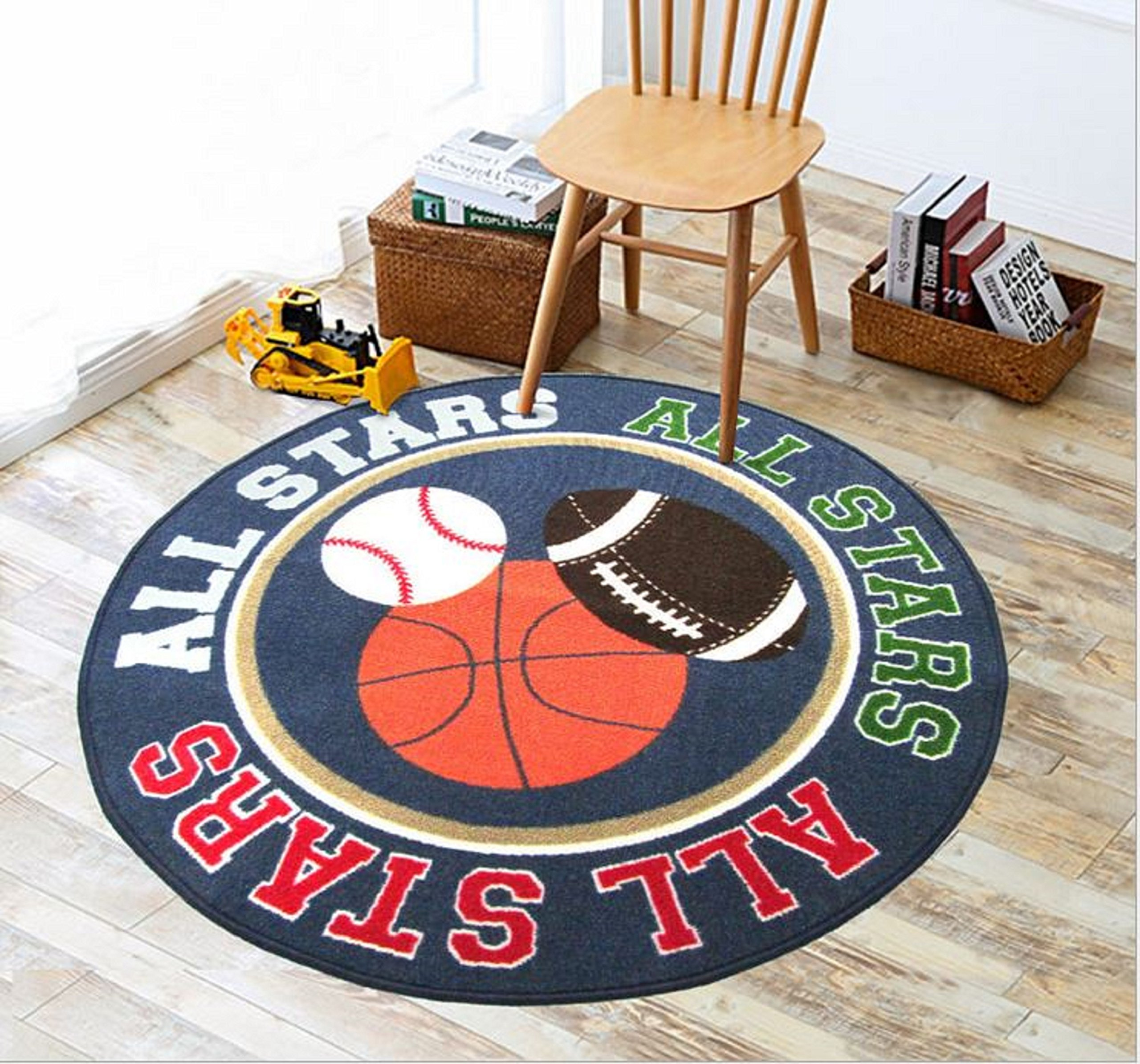 Baby Boy Sport Area Rug 39'' Round Kids Sports Area Rug