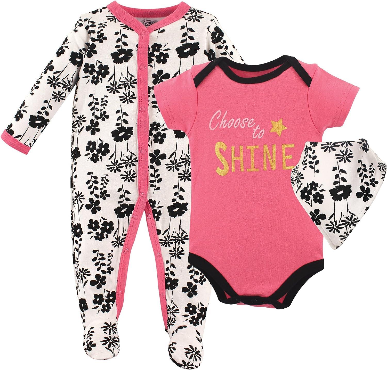 Luvable Friends Baby-Girls Sleeper Bodysuit and Bandana Bib Set Layette Set