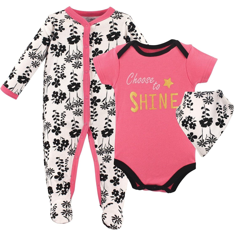 Luvable Friends Baby-Girls Baby Sleeper, Bodysuit and Bandana Bib Set 83527