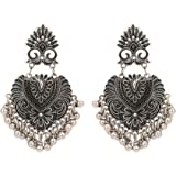 Shreyadzines Designer Traditional Oxidized Silver Afghani Style Dangle Earrings for Women and Girls