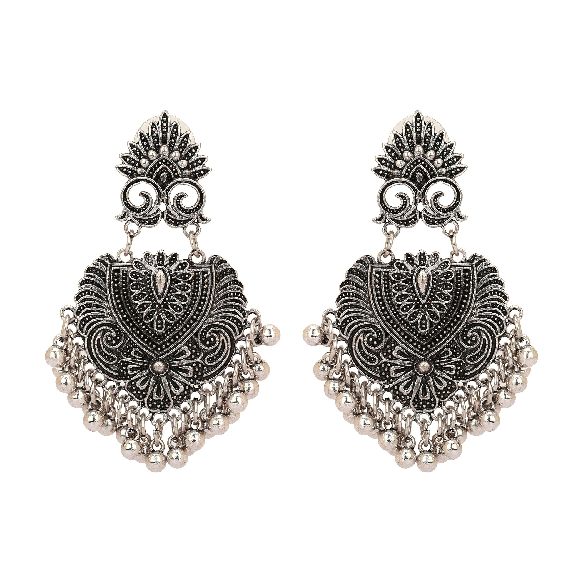Jwellmart Afghani Bohemian Tribal Style Oxidized Drop Dangle Indian Earrings for Women and Girls (Silver)
