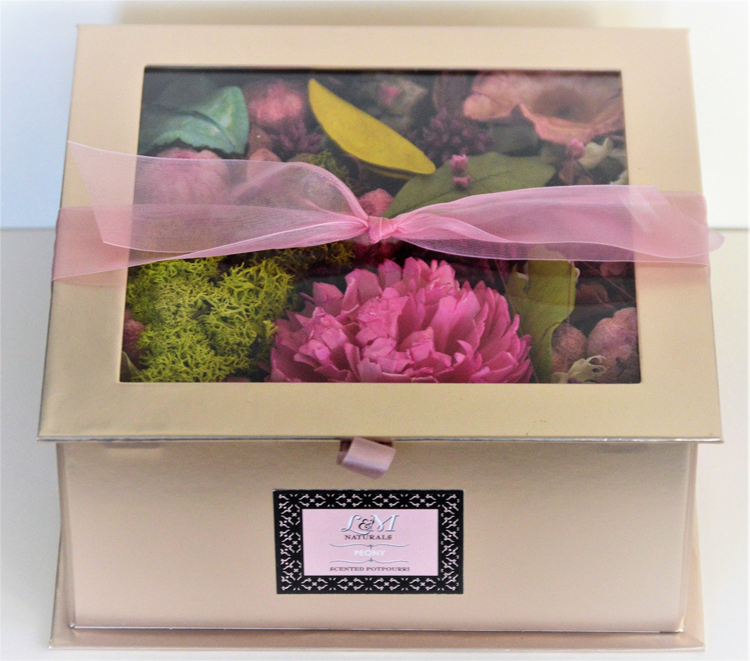L&M Naturals Peony Potpourri Scented Potpourri- Beautiful 11.5oz Box filled with Botanicals scented with Tuberose~ Made in the USA! by L&M Naturals (Image #1)