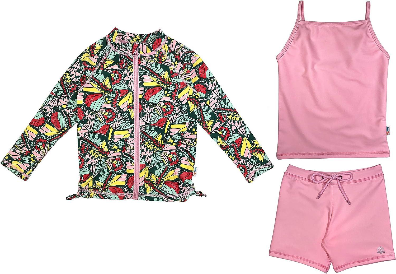 SwimZip Girl 3 Piece Long Sleeve Rash Guard Tankini /& Shorts Multiple Colors