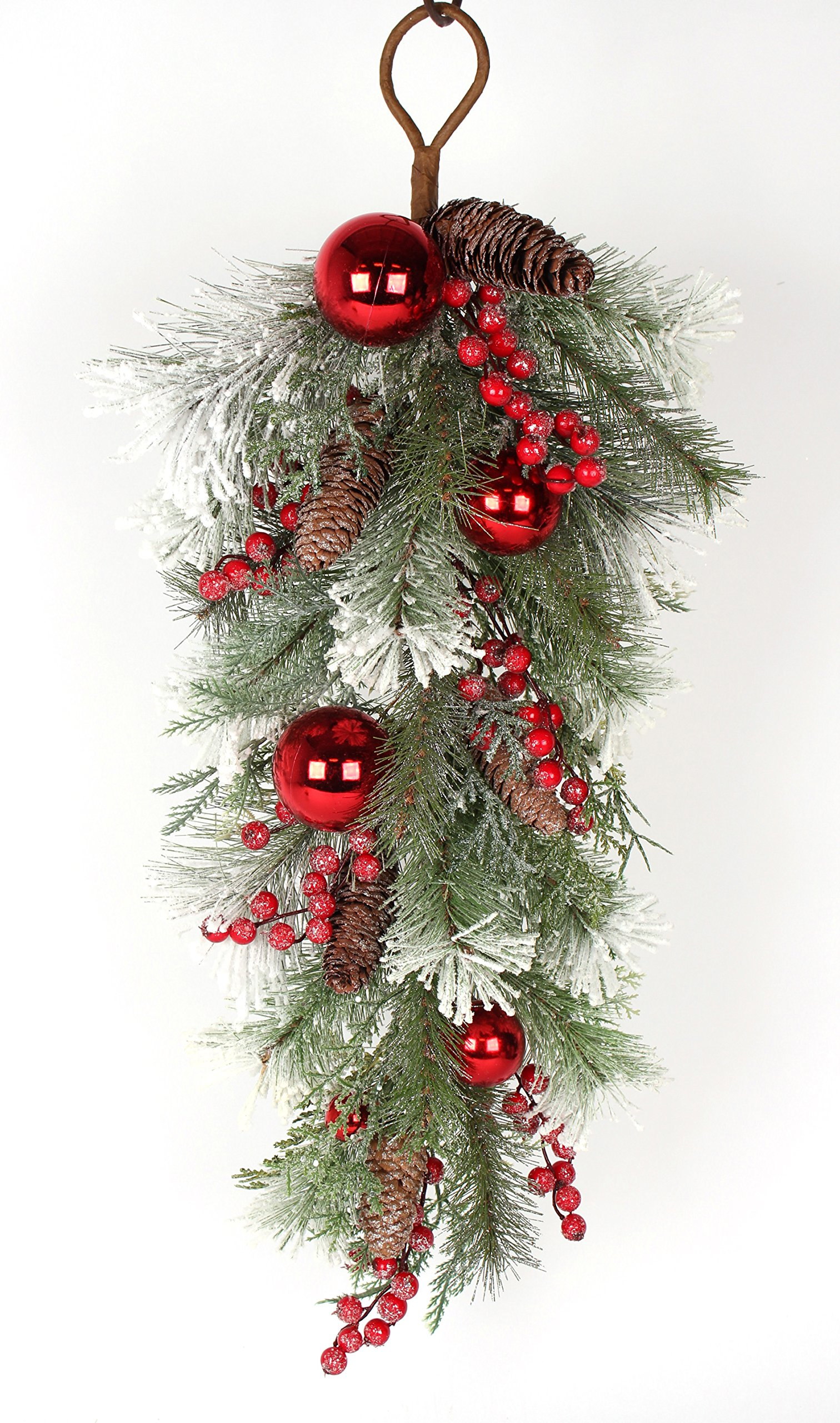 32 Inch Artificial Mixed Pine Christmas Teardrop Swag With Snow, Crystals, Berries, Pine Cones and Red Ball Ornaments