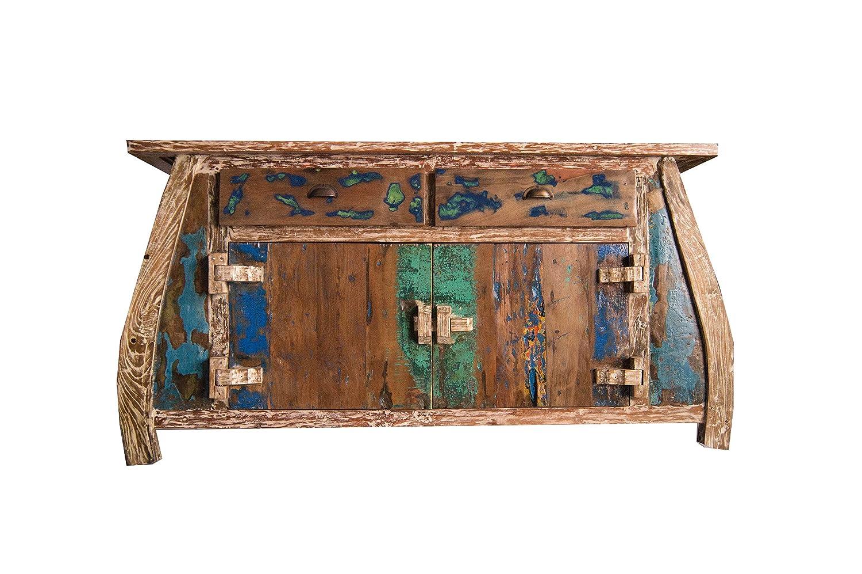 (K7)Vintage Teak gebogene Kommode, Kabinett, Sideboard, Schrank, Shabby, Antik Retro, Chic