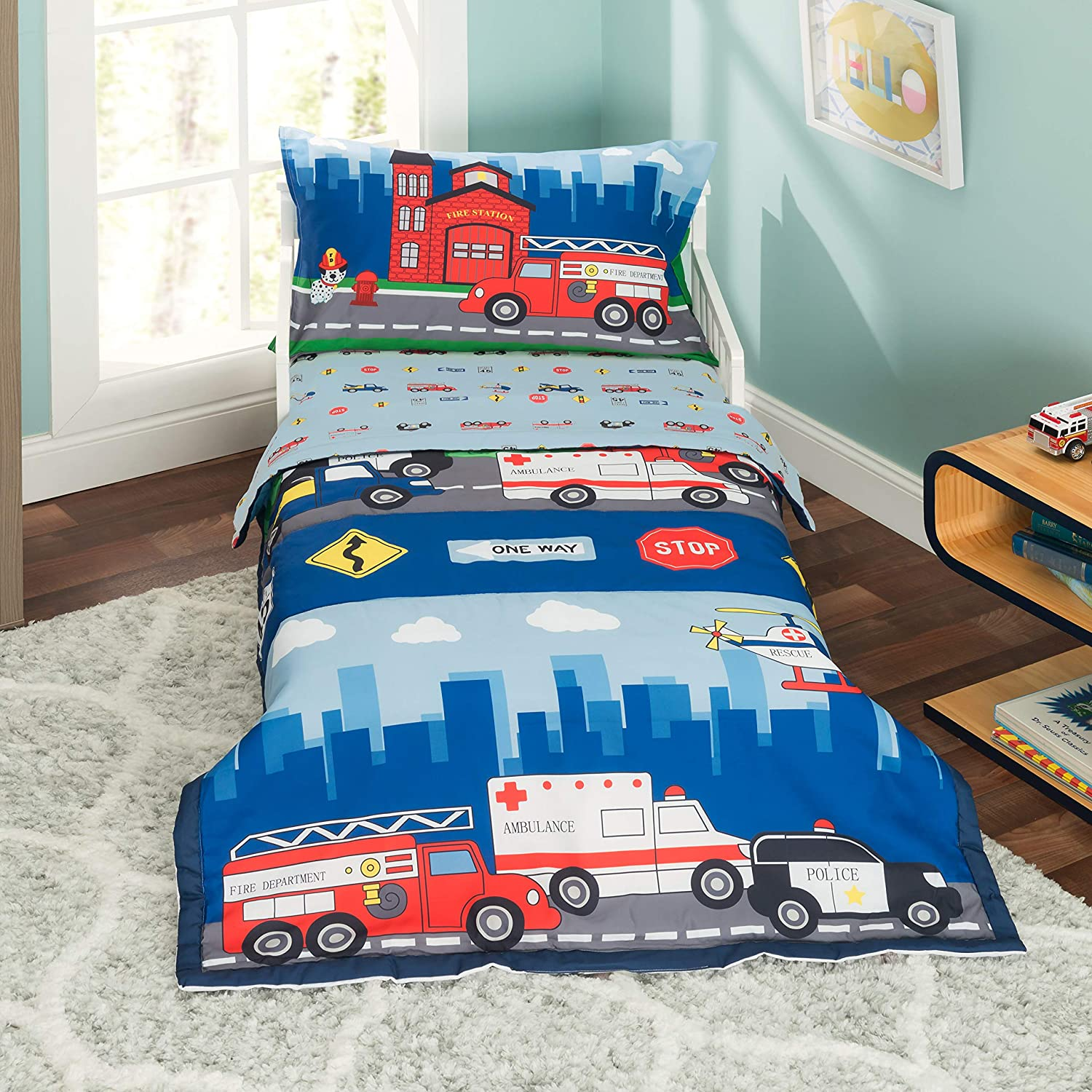 Fitted Sheet and Reversible Pillowcase EVERYDAY KIDS 4 Piece Toddler Bedding Set Includes Comforter Fire and Police Rescue Flat Sheet