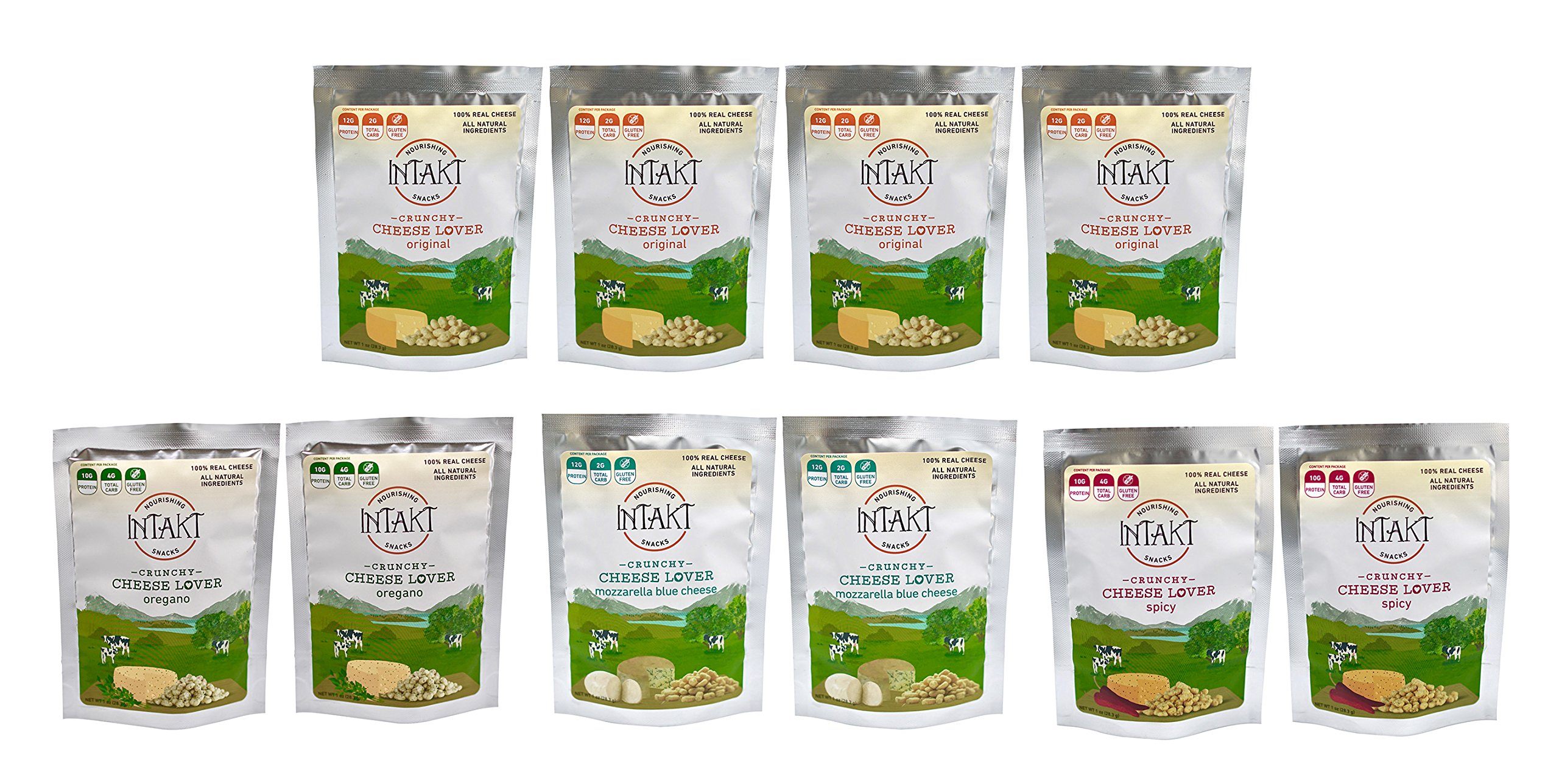 Intakt Snacks Crunchy Cheese Bites – Pack of 10 (Assorted) by Intakt Snacks