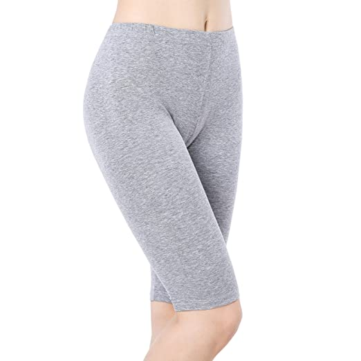 a0e27e3273812f Women Short Leggings Under Dress Shorts Stretch Knee Length Pants Fitness  Yoga Grey