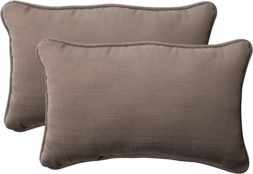 Taupe Set of 2 501277 Pillow Perfect Outdoor Forsyth Corded Rectangular Throw Pillow