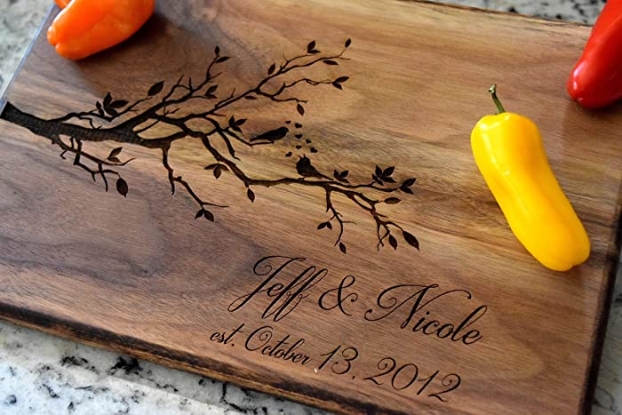 amazon com love birds cutting board with personalized name and date
