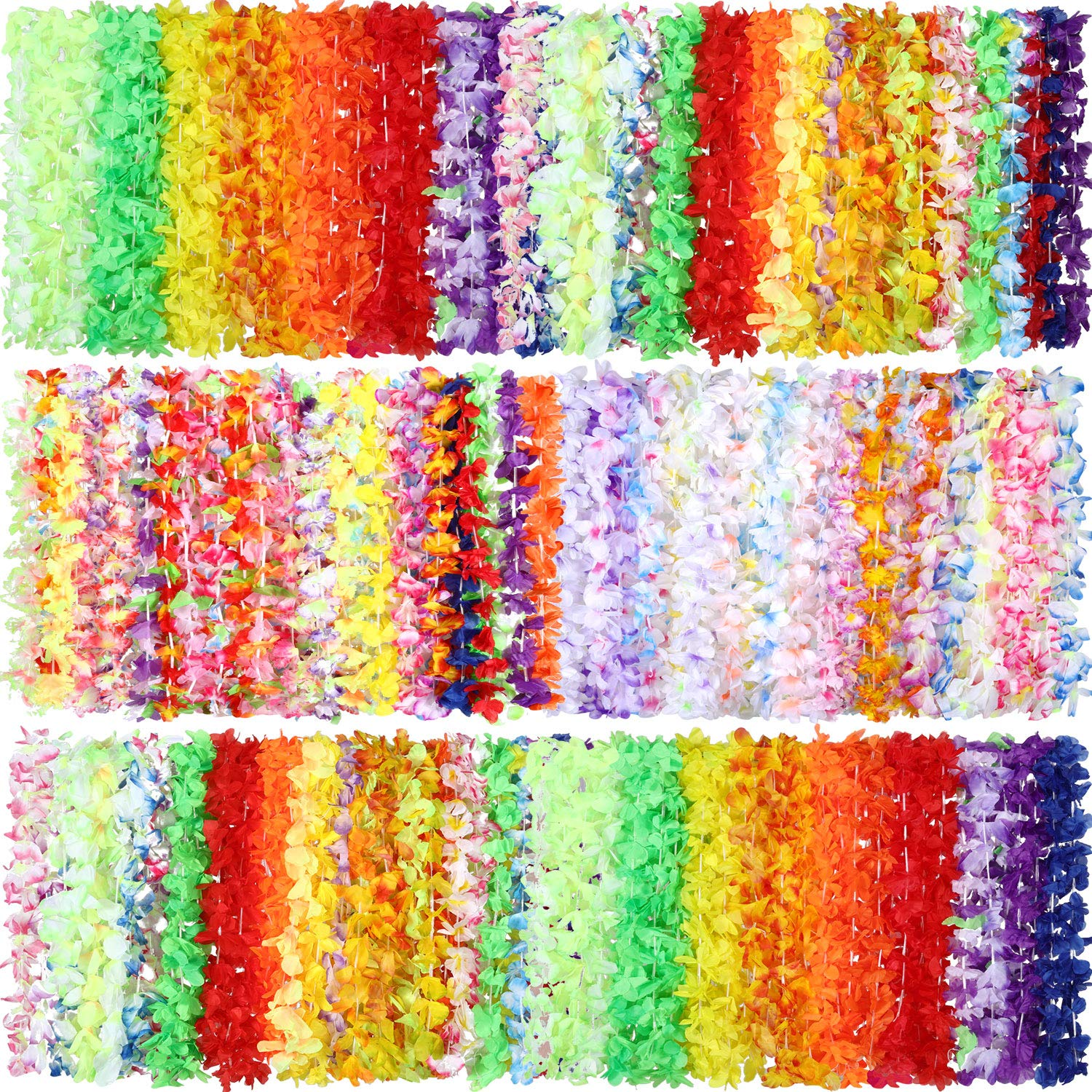 Shappy 100 Pieces Flower Tropical Hawaiian Leis Necklaces for Beach Theme Party Supplies Decorations Favors Ornaments (Style 2)