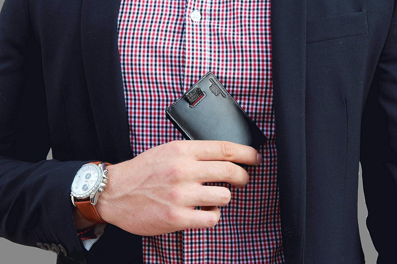 SERMAN BRANDS RFID Blocking Bifold Slim Genuine Leather Minimalist Front Pocket Wallets for Men Money Clip