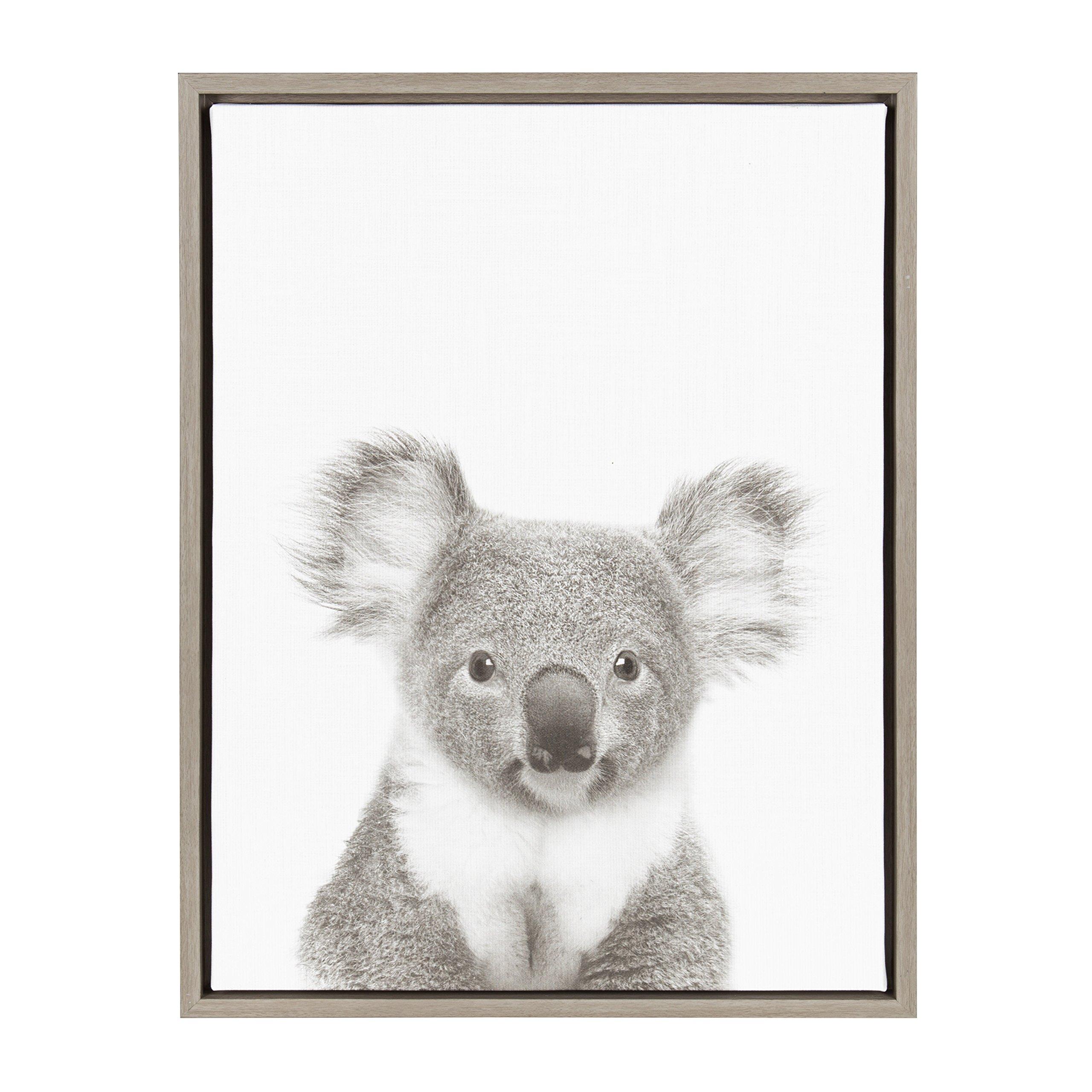 Kate and Laurel - Sylvie Koala Animal Print Black and White Framed Canvas Wall Art by Simon Te Tai, Gray 18x24