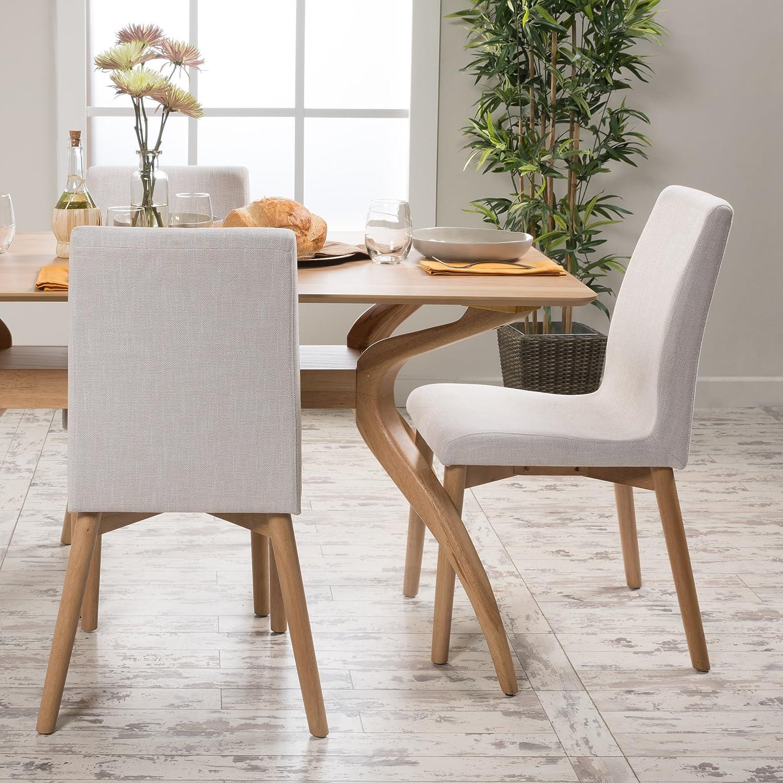 Christopher Knight Home 298941 Helen Mid Century Modern Dining Chair (Set of 2), Light Beige
