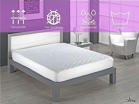 Dormio - Protector de Colchón Acolchado en Rizo Impermeable y Transpirable 100% Algodón tamaño 135 x 190/200. (Todas Las Medidas). Modelo Violeta Impermeable: Amazon.es: Hogar