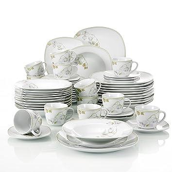 303b3e6cd757c1 Veweet EMILY 60pcs Service de Table Porcelaine 12pcs Assiette Plate,  Assiette à Dessert, Assiette