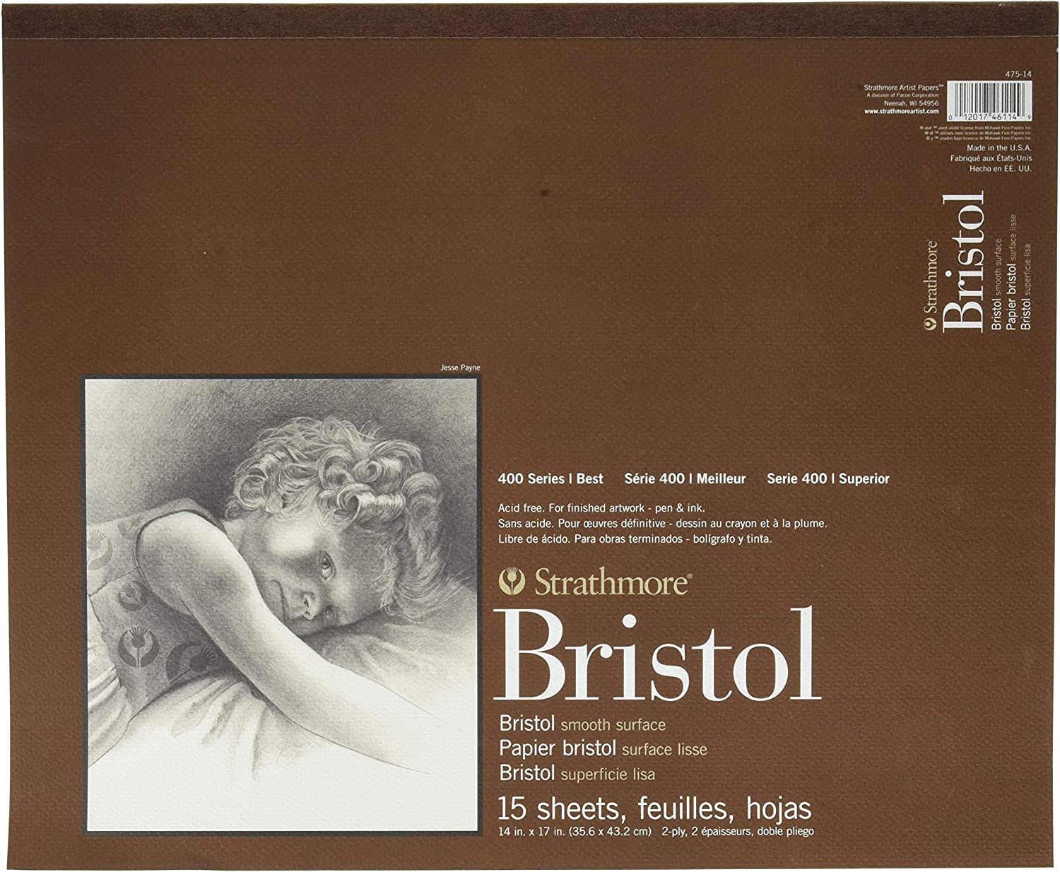 Strathmore 400 Series Bristol 2-Ply Smooth 18x24 Tape Bound 15 Sheets
