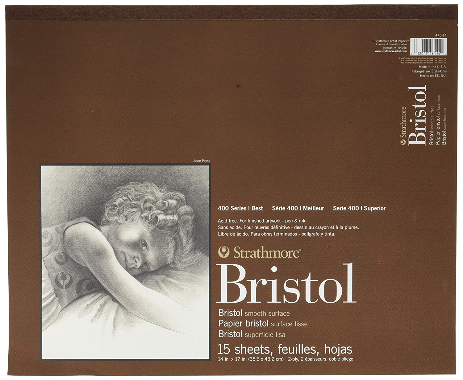 15 Sheets Strathmore 400 Series Bristol 11x14 Tape Bound 2-Ply Smooth
